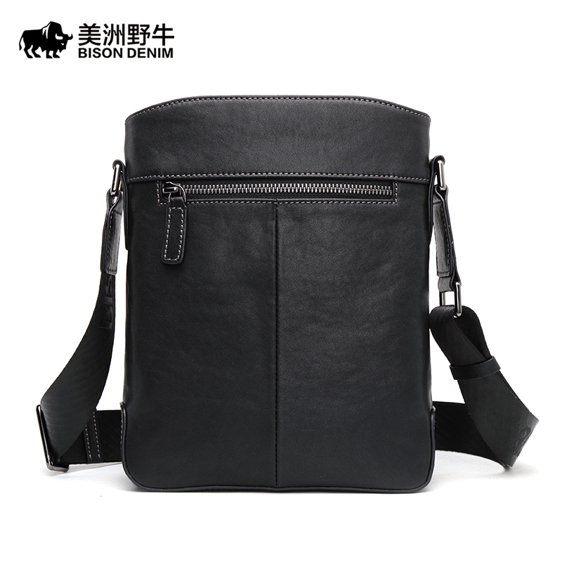 BISON DENIM Brand Handbag Men Shoulder Bags Genuine Leather Men's Briefcase Cowhide Business Casual Messenger Bag new men s bag genuine leather briefcase men classic business briefcase handbag office shoulder bag for men cowhide bags li 1128
