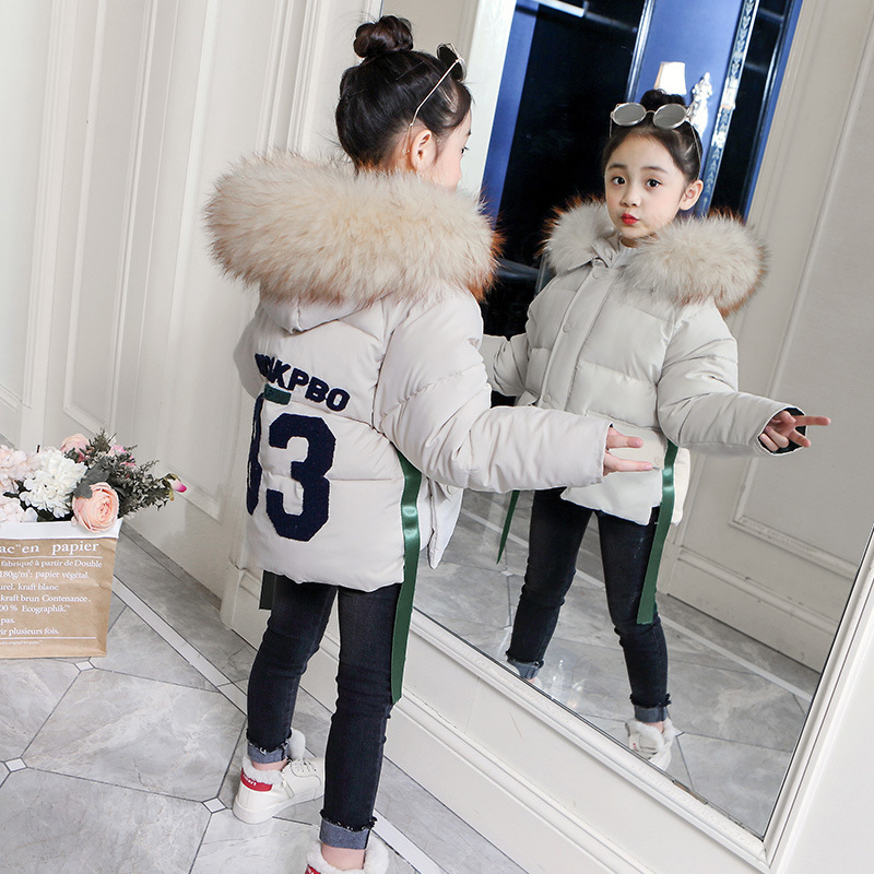Children's clothing girls winter bread service 2018 new coat Korean version of the thick long section of the fashionable cotton цены онлайн