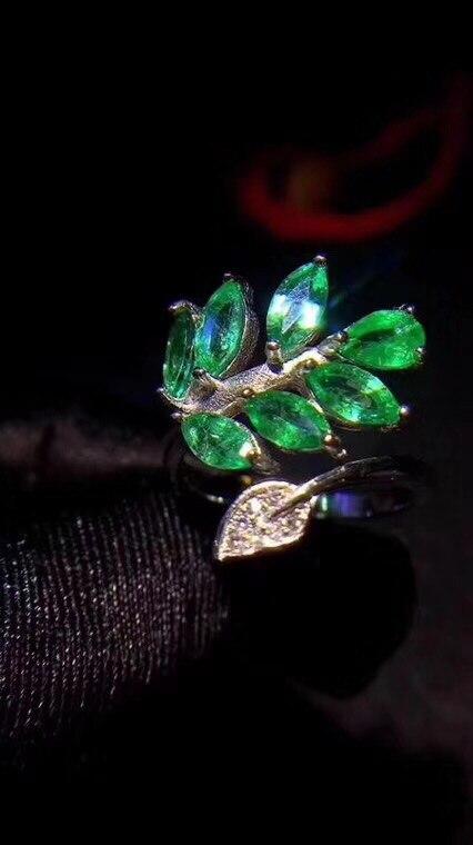 Uloveido Marquise Cut Natural Emerald Ring 925 Sterling Silver Tree Leaf Ladies Ring Adjustable Gemstone Ring