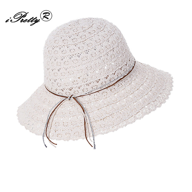 5749d10995a Summer Hats for Women Fashion Lace Florall Crochet Foldable Brimmed Straw  Ladies girl Beach Hat Sunscreen