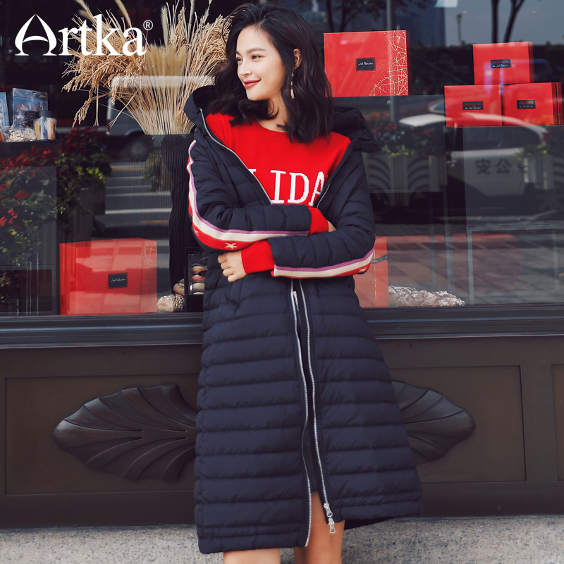 ARTKA 2018 New City Series Women Winter Solid 90% White Duck   Down     Coat   Hooded Medium Long Thick Light Zipper   Down   Jacket JY17005