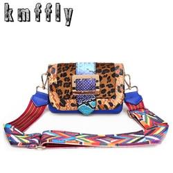 Fashion Leopard Women Shoulder Bags With Color Shoulder Strap High Quality Messenger Bag Luxury Sac A Main Flap Crossbody Bags
