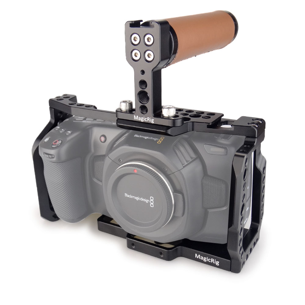 MAGICRIG BMPCC 4K Cage With Top Leather Handle for Blackmagic Pocket Cinema Camera BMPCC 4K to