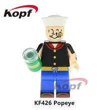 Single Sale Super Heroes Popeye Mr.Bean Freddie Mercury Michael Jackson Dolls Building Blocks Education Tosy for children KF426(China)