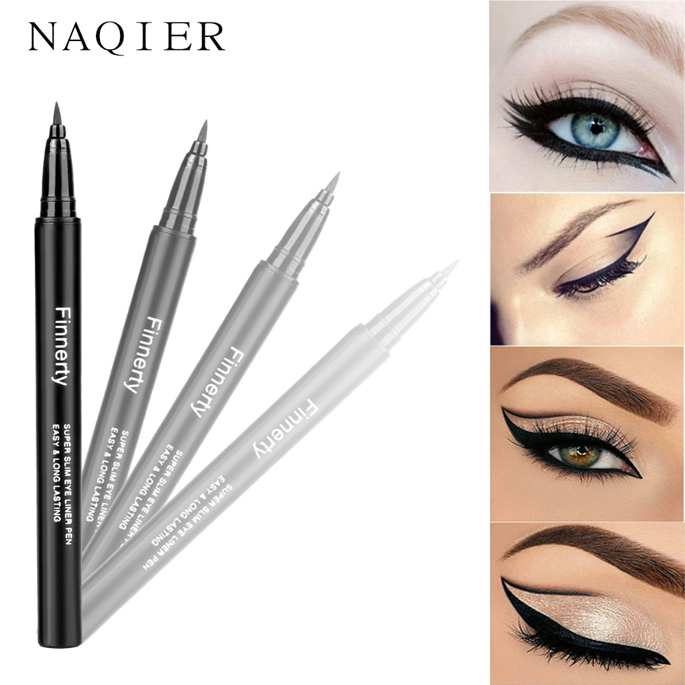 NAQIER Cosmetic Eye liner Black Natural liquid eyeliner pen Long-lasting waterproof eyeliner stamp tool maquiagem make up Tools
