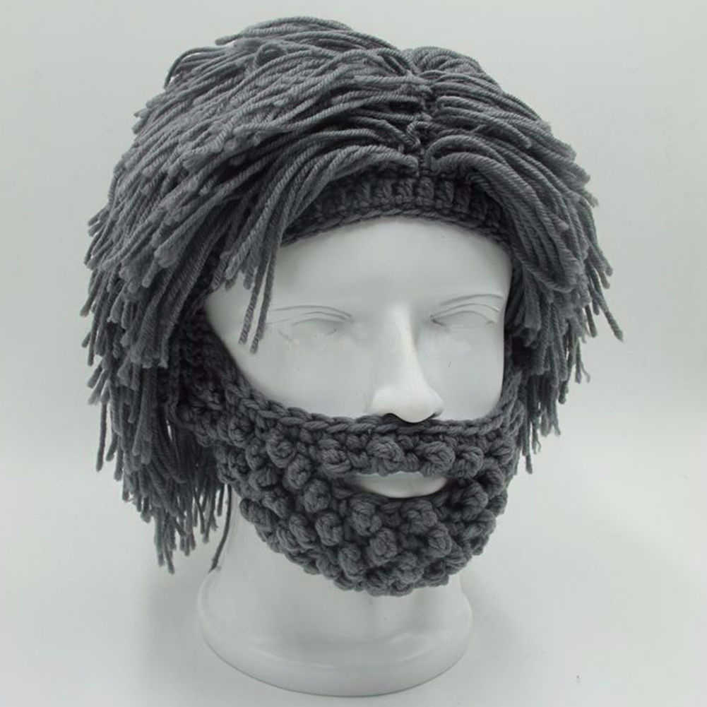 7968031a1e4 NaroFace Handmade Knitted Men Winter Crochet Mustache Hat Beard Beanies Face  Tassel Bicycle Mask Ski Warm