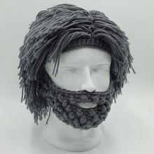 NaroFace Handmade Knitted Men Winter Crochet Mustache Hat Beard Beanies Face Tassel Bicycle Mask Ski Warm Cap Funny Hat Gift New цена