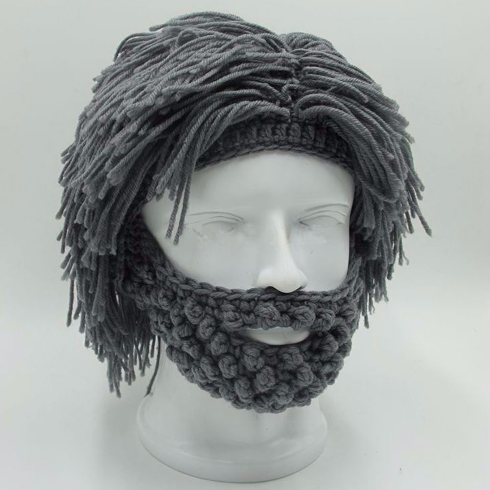 NaroFace hecho a mano de punto de los hombres de invierno Crochet bigote sombrero barba sombrero cara borla bicicleta máscara de esquí gorra sombrero divertido regalo nuevo
