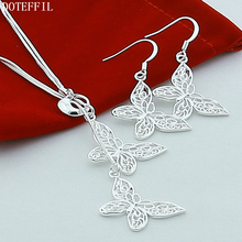 Silver Double Butterfly Necklace Earrings Woman 925 Sterling Fashion Charm Quality Jewelry