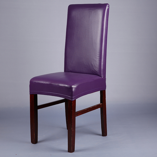Chair Covers Leather Heavy Duty Office Chairs Purple Pu Elastic For Weddings Banquet Home Hotel Dining