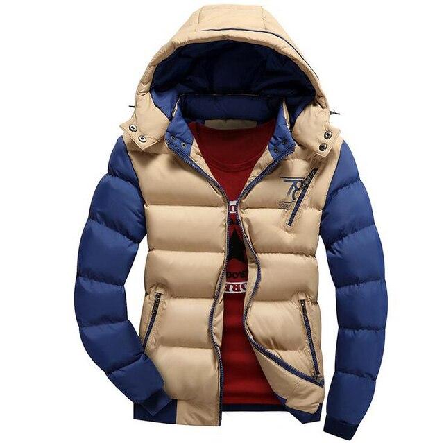 Новый 2016 Весна Зимняя Куртка Мужчины Бренд Высокого Качества Хлопка Мужская Одежда Теплая Куртка Пальто Черный Плюс Размер 3XL