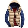 Nova Primavera 2016 Homens Jaqueta de Inverno Da Marca de Alta Qualidade Para Baixo Algodão Dos Homens Roupas Casacos Casaco Quente Preto Plus Size 3XL