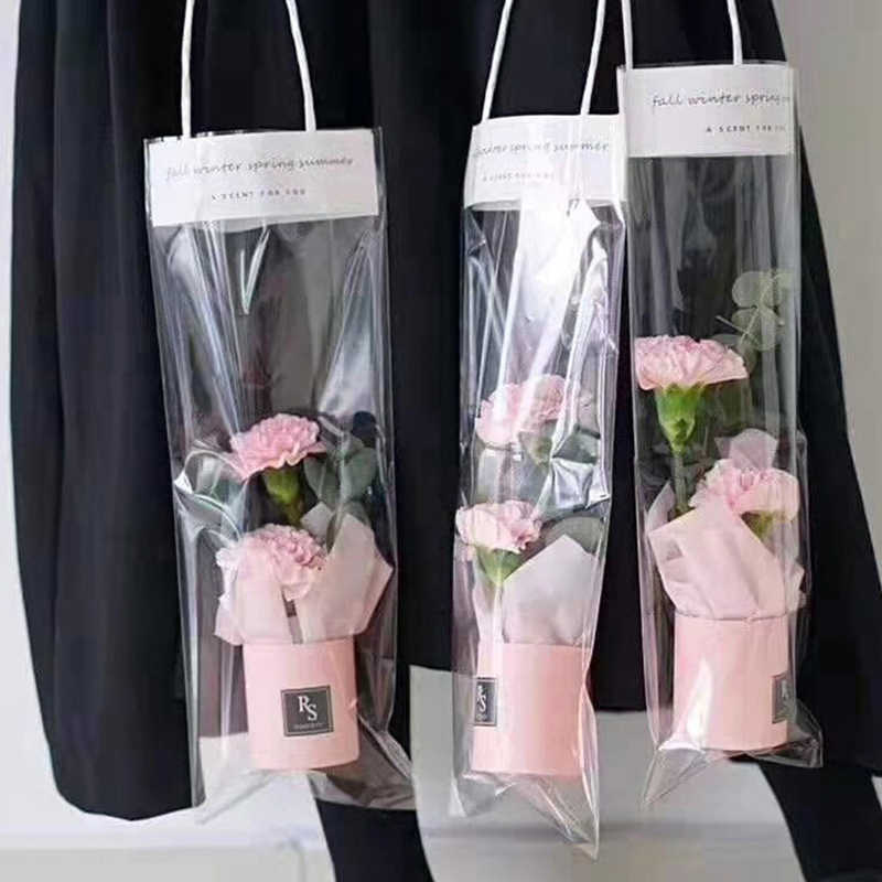 1pc Flower Box Mini Bouquet Cylinder Portable Flower Bucket Flower Gift Storage PVC Bags Paper Boxes
