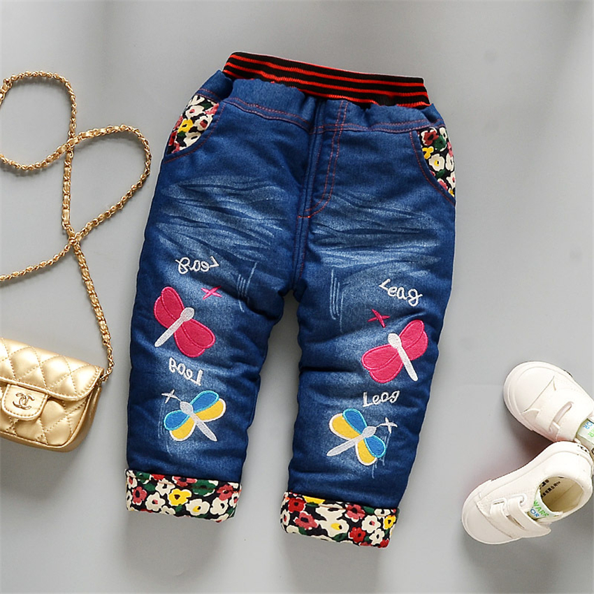 Jeans for Girls Winter Boys Warm Wind Pants Can Open File Christmas Cartoon Fashion Soft 1-4T Baby Warm Boys Jeans Long Pants 2017 winter light wash boys jeans for boys solid warm thicken children s jeans boys pants ripped hole children fashion jeans
