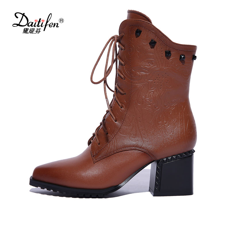Daitifen 2017 New Winter Fashion Pointed Toe Lace Up Genuine Leather Print Flower Zip Rivets Women Ankle Boots Thick Heel shoes sfzb new square toe lace up genuine leather solid nude women ankle boots thick heel brand women shoes causal motorcycles boot