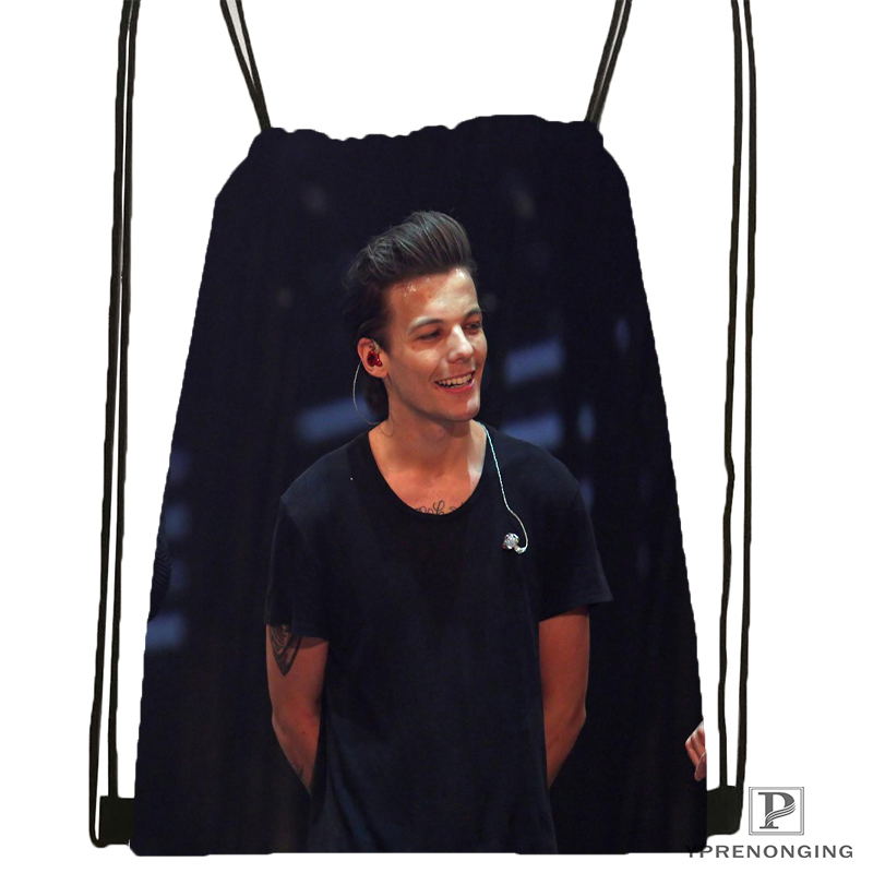 Custom  Louis Tomlinson Drawstring Backpack Bag Cute Daypack Kids Satchel (Black Back) 31x40cm#180531-02-39