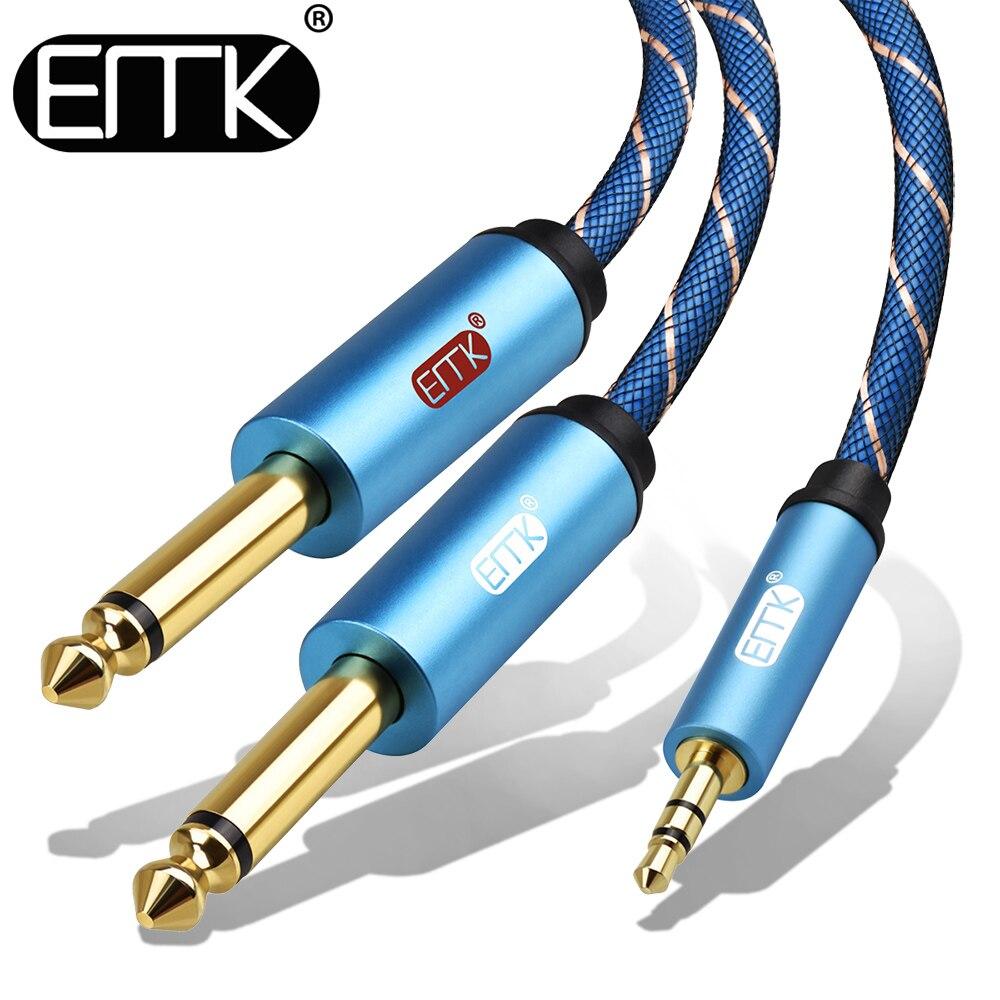 Emk 3.5mm a 2 6.35mm cabo de áudio estéreo aux 3.5 macho para homem 6.35 6.3 6.5 mono y divisor cabo de áudio 5m para o telefone ao misturador