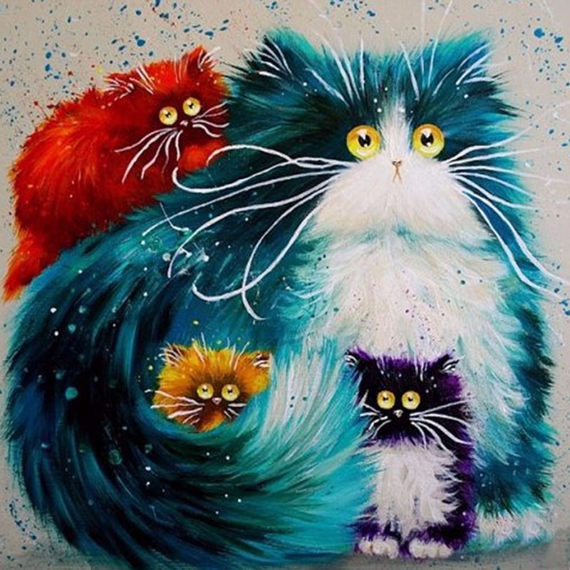 Full drill 5D DIY Diamond Painting Colorful Cat Embroidery Diamond Cross Stitch Rhinestone Mosaic Painting Home Decor Gift