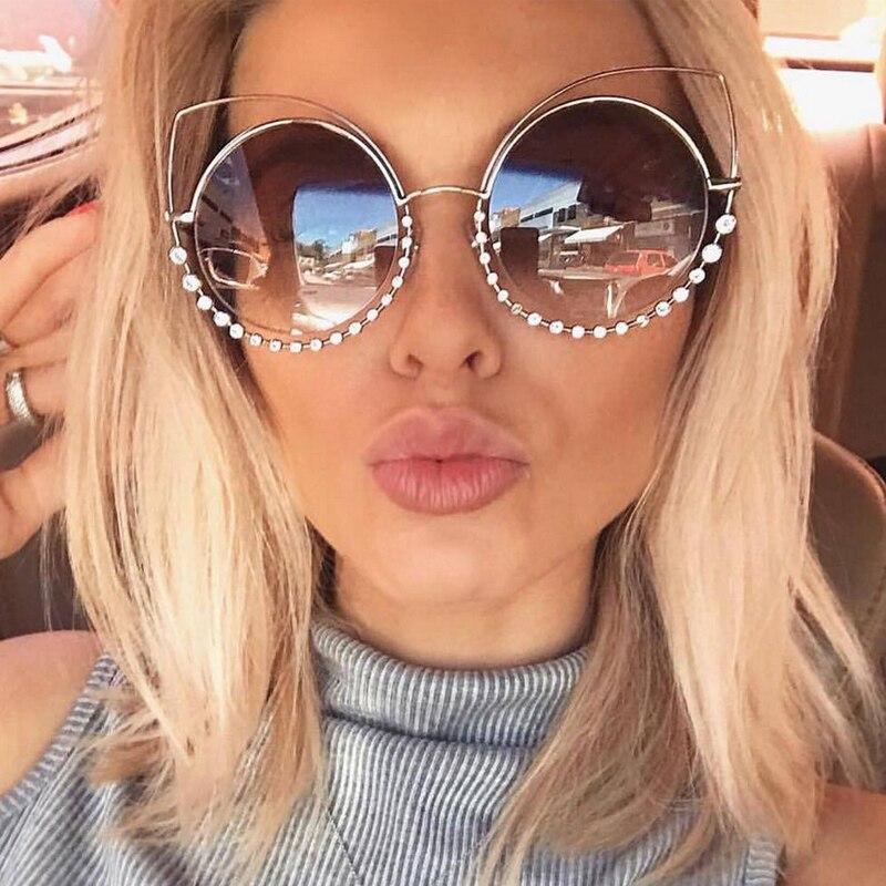 buy outeye diamond cat eye sunglasses women round mirror sun glasses rhinestone. Black Bedroom Furniture Sets. Home Design Ideas