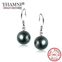 YHAMNI Original 925 Solid Silver 10mm Freshwater Black Pearl Drop Earrings Fashion Wedding Ear...