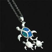 Cute Blue Fire Opal Stone Turtle Necklace Copper Rhinestone Small Tortoise Charm Pendant Necklace For Women