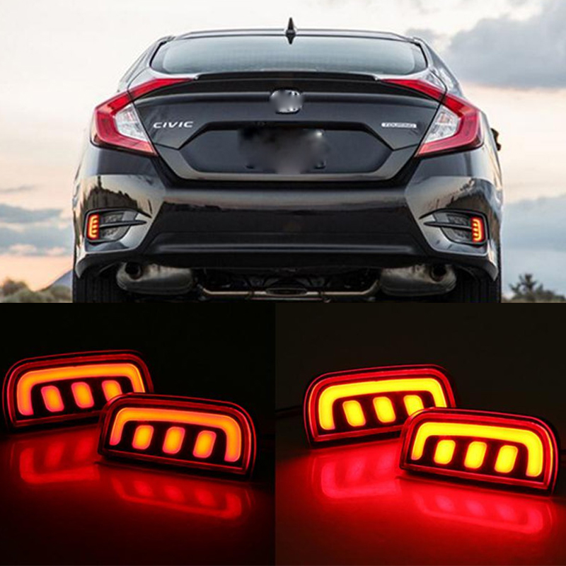 castaleca 1pair LED Car Brake Light Rear Bumper Warning reflective fog Lights for 10 times Civ ic 2016 2017 red