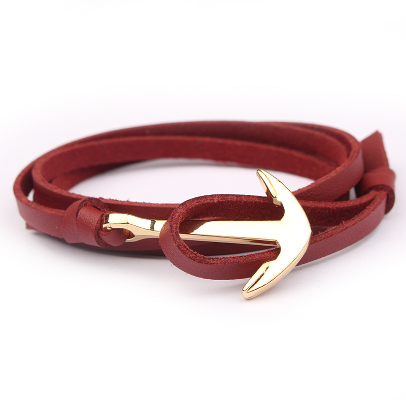 NIUYITID Handmade Rope Bracelet For Women Men Leather Braclet Anchor Charm Bracelet Jewelry Male Gift Wholesale Price (2)