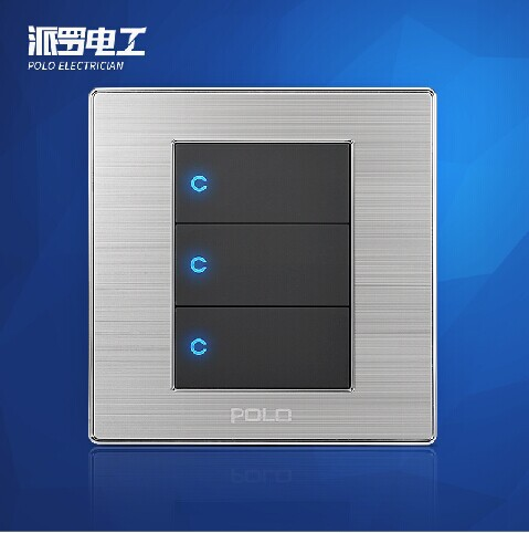 Free Shipping, POLO Luxury Wall Light Switch Panel, 3 Gang 1 Way, Champagne/Black, Push Button LED Switch, 16A, 110~250V, 220V kempinski wall switch 3 gang 1 way light switch champagne gold color special texture c31 sereis 110 250v popular