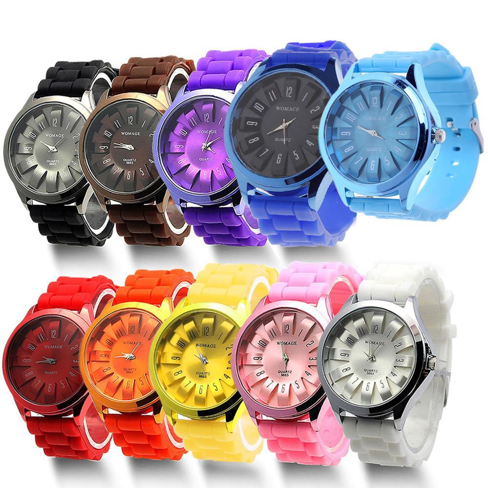 Couple Quartz Wrist Watches Boys Girls Geneva Silicone Jelly Golden Sports Relogio Saat