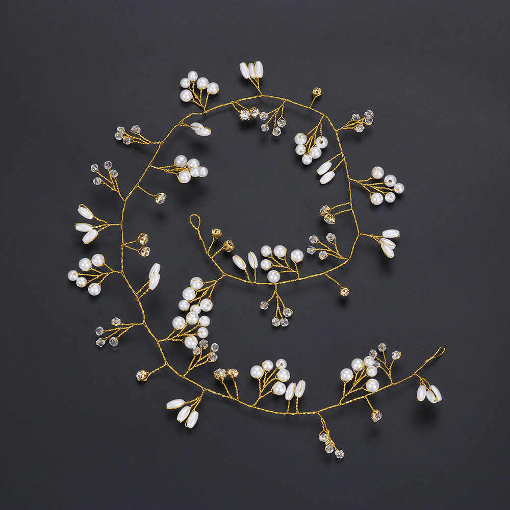 Bruiloft Bruid Hoofdtooi Handgemaakte Sieraden Bruids Haar Accessoires Parel Kristal Hoofdbanden Voor Vrouwen Bridal Crown Haar Sieraden