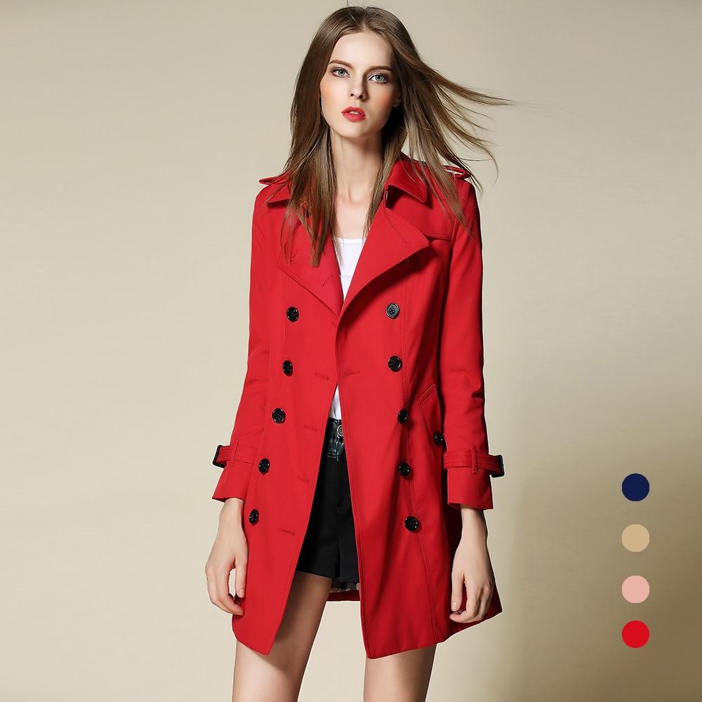 2017 Long Spring Women's Double Breasted Turn-down Collar Plaid Slim Cloak Plus Size Runway Fashion Designer Burderry Outwear