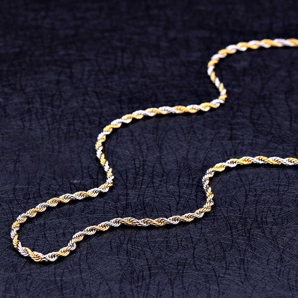 Stainless steel silver gold color 3MM 4.8MM twisted rope chain necklace Fashion men's rock and hip hip style jewelry 50/60/70CM
