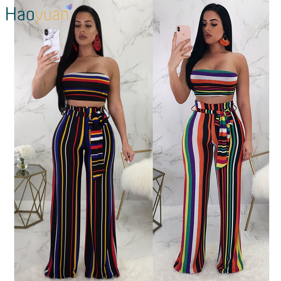 51303cb1160 HAOYUAN Sexy Two Piece Set Women 2018 Summer Striped Strapless Crop Top and  Wide Leg Pants ...