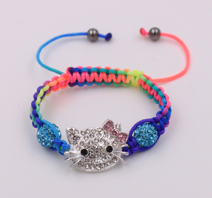 9814a6559 10pcs / lot wholesale cheap kid children colorful bracelet colour cords hello  kitty shamballa bracelet free shipping-in Cuff Bracelets from Jewelry ...