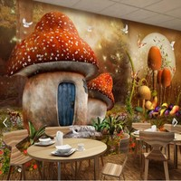 Custom Photo Wallpaper Large Mural 3d Stereo Modern Cartoon Fairy Fantasy Mushroom House Photo Background Wall