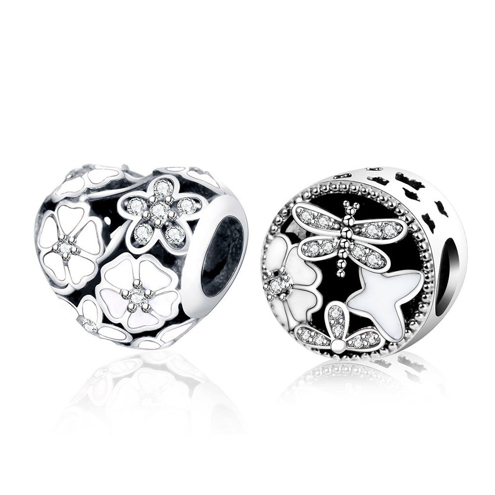 Подходят оригинальный Pandora браслет стерлингового серебра 925 Цветочное сердце шариках с белой эмалью DIY ювелирных Berloque 2018