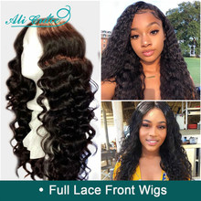 Ali Grace Remy Hair Brazilian Loose Wave Pre-Plucked Full Lace Wigs 130% 150% Density Human Hair Lace Wigs With Baby Hair(China)