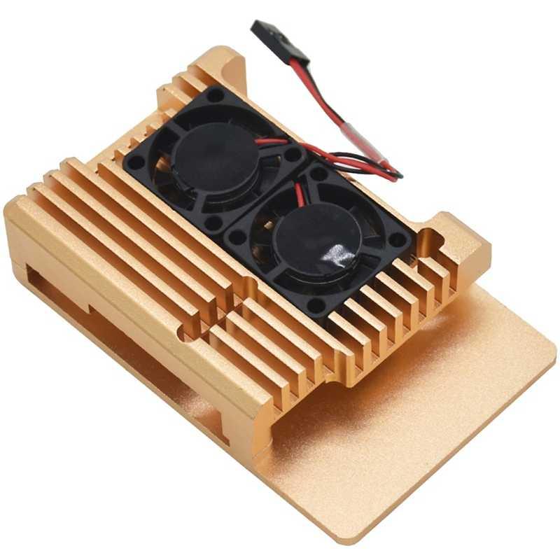 رائجة البيع لتوت العليق Pi 3 نموذج B + التبريد قذيفة سبائك معدنية الألومنيوم مروحة مشعاع