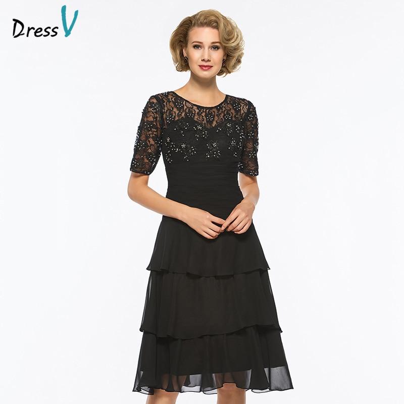 c27825b6d44 Dressv black scoop neck short sleeves a line mother of bride dress beaidng  knee length long