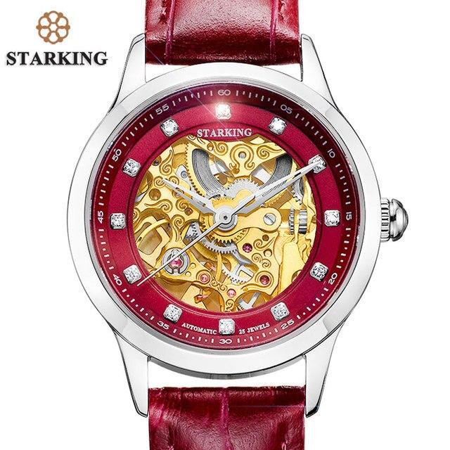 Старкинг часы Для женщин Скелет автоматические механические часы новое поступление золотой Дизайн Для женщин Мода Повседневное кожа Часы klockor