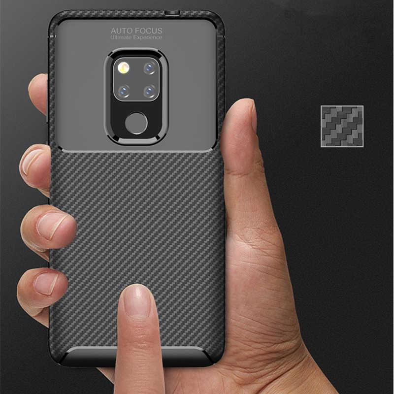 In Fibra di carbonio Caso Per Caso Huawei Compagno di 20 Mate20 HMA-AL00 HMA-TL00 HMA-L29 HMA-L09 Robusta Armatura Antiurto Molle della Gomma di Silicone Della Copertura