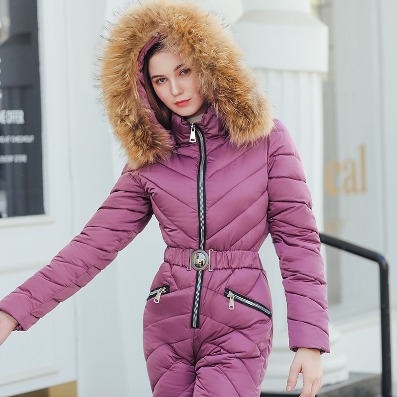 Alta calidad mujer invierno largo Abrigo con capucha mono Outwear para mujer chaquetas de invierno con cuello de piel cálido grueso juega