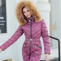 High Quality Female Winter Long Coat Hooded Jumpsuit Outwear For Women Women's Winter Jackets with Fur collar Warm Thicken Plays