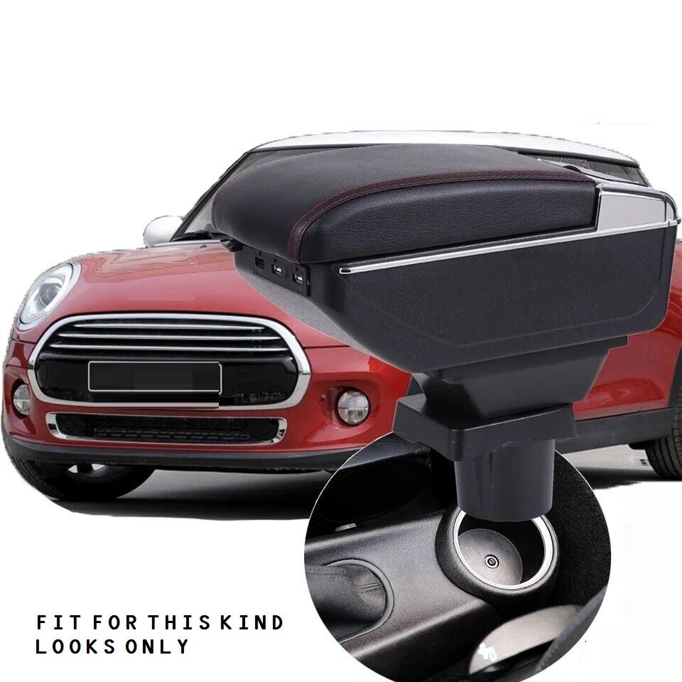 CITYCARAUTO MAIOR ESPAÇO + LUXO + USB caixa de Armazenamento De conteúdo caixa apoio de braço central Do Carro com suporte de copo USB APTO PARA MINI COOPER COUPE