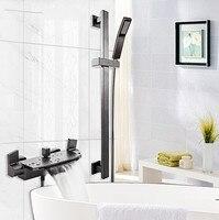 Juego de grifo de bañera de Latón chapado en negro de lujo montado en la pared para baño grifo de ducha de agua fría con cabezal de ducha de mano