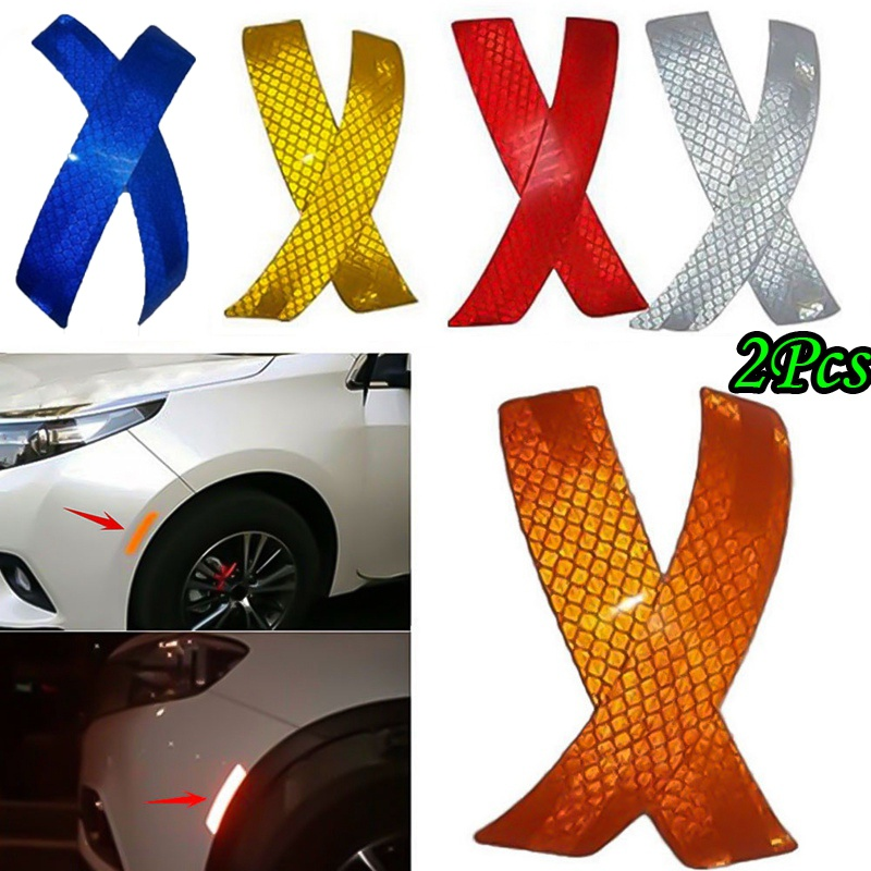2Pcs Car Bumper Reflective Warning Strip Decal Stickers Auto Accessory 14*2.3 cm