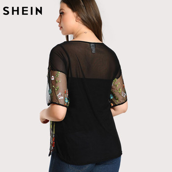 SHEIN Black Plus Size Blouse Fashion Embroidered Transparent Sexy Mesh Female Blouse Spring Autumn Short Sleeve Tops Blouse 1
