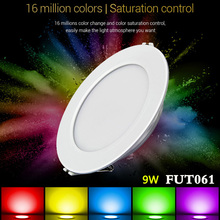 milight FUT061 9W RGB+CCT recessed led ceiling Downlight dimmable AC220V 2700K~6500K can 2.4G RF remote/APP/Amazon Voice control