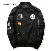 Mens Bomber Jackets with Patches 2018 New Streetwear Flight Pilot Jacket Men Patch Men's Jacket Slim Fit Cool