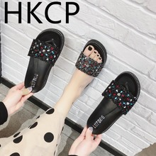 HKCP 2019 new slipper lady fashion outside wear platform cake thick bottom water drills cool loafers C037
